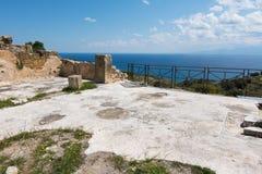Archeologisch gebied van Solunto, dichtbij Palermo, in Sicili? stock foto's