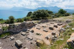Archeologisch gebied van Solunto, dichtbij Palermo, in Sicili? royalty-vrije stock foto's