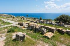 Archeologisch gebied van Solunto, dichtbij Palermo, in Sicili? stock afbeeldingen
