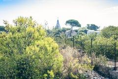 Archeologisch park, rotsen dichtbij Grieks Theater van Syracuse, ruïnes van oud monument, Sicilië, Italië royalty-vrije stock fotografie