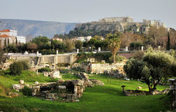 Archeologische plaats en Akropolis Stock Afbeelding