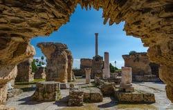 Archeologische Plaats van Carthago Ruïnes van Carthago stock afbeelding
