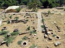 Archeologische uitgravingen op de plaats van oude woningen royalty-vrije stock afbeeldingen
