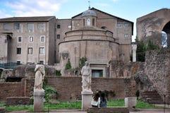 Archeologische uitgravingen in Roman Forum, Rome, Italië Stock Foto