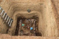 Archeologische uitgravingen van de Russische Geografische Maatschappij bij de plaats van Scythian stock foto's