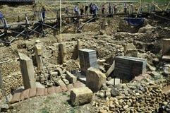 Archeologische uitgravingen van de wereld` s oudste tempel Göbekli Tepe royalty-vrije stock fotografie