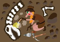 Archeologist busy at work. An Archeologist digs up Some Old Fossils Stock Photo