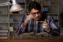 Archeologist pracować nocny w biurze Zdjęcie Stock