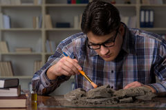The archeologist working late night in office. Archeologist working late night in office Stock Photography