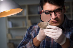 The archeologist working late night in office. Archeologist working late night in office Stock Photo