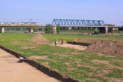 Archeologists working near river ijssel deventer Royalty Free Stock Images