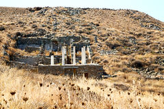 Archeology  in   acropolis and old ruin site. In delos   greece    the historycal acropolis and         old ruin site Royalty Free Stock Photography