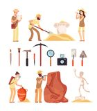 Archeology. Archeologist people, paleontology tools and ancient history artifacts. Vector cartoon isolated set. Illustration of archaeological instrument and vector illustration