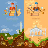 Archeology banners cultural objects treasure hunters. Archaeological excavations ancient artefacts tools for excavations Royalty Free Stock Photo