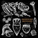 Archeology Chalkboard Sketch Set Stock Photo