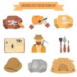 Archeology color flat icons set for web and mobile design Stock Images