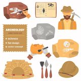 Archeology color flat icons set for web and mobile design Stock Photography
