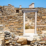 Archeology  in delos greece the door. In delos   greece    the historycal acropolis and         old ruin site Royalty Free Stock Photography