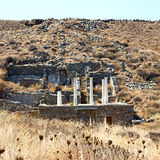 Archeology  in delos greece the historycal acropolis and old rui Royalty Free Stock Images