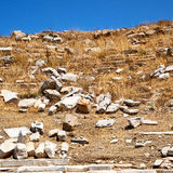 Archeology  in delos greece the historycal acropolis and old rui Royalty Free Stock Image