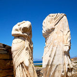 Archeology  in delos greece the historycal acropolis and old rui Royalty Free Stock Photo