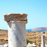 Archeology  in delos greece the historycal acropolis and old rui Royalty Free Stock Photos