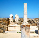 Archeology  in delos greece the historycal acropolis and old rui Stock Photography