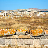 Archeology  in delos greece the historycal acropolis and old rui Stock Photo