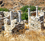 Archeology  in delos greece the historycal acropolis and old rui. In delos   greece    the historycal acropolis and         old ruin site Royalty Free Stock Photography