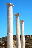 Archeology  in delos greece the historycal acropolis and old rui. In delos   greece    the historycal acropolis and         old ruin site Stock Photo