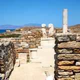 Archeology  in delos greece the historycal acropolis and old rui. In delos   greece    the historycal acropolis and         old ruin site Royalty Free Stock Photo