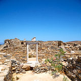 Archeology  in delos greece the historycal acropolis and old rui. In delos   greece    the historycal acropolis and         old ruin site Royalty Free Stock Photography