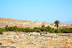 Archeology  in delos greece t historycal   and old    site. In delos   greece    the historycal acropolis and         old ruin site Royalty Free Stock Photos