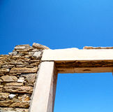 Archeology  in door   acropolis and old ruin. In delos   greece    the historycal acropolis and         old ruin site Royalty Free Stock Photos