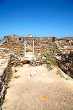Archeology  in door  and old ruin site. In delos   greece    the historycal acropolis and         old ruin site Stock Photo