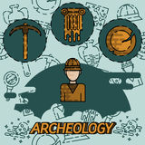 Archeology flat concept icons Royalty Free Stock Images