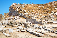 Archeology  in   greece the   and   ruin site. In delos   greece    the historycal acropolis and         old ruin site Stock Images