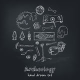 Archeology hand drawn sketch set of paleontological and archaeological ancient finds isolated vector illustration Royalty Free Stock Image