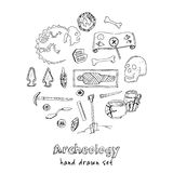 Archeology hand drawn sketch set of paleontological and archaeological ancient finds isolated vector illustration Stock Photo