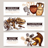 Archeology Horizontal Sketch Colored Banners Royalty Free Stock Photos