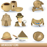 Archeology icons. Set of nine archeology color illustrations Stock Images