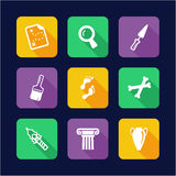 Archeology Icons Flat Design Royalty Free Stock Photography