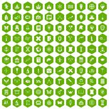 100 archeology icons hexagon green. 100 archeology icons set in green hexagon isolated vector illustration Royalty Free Stock Images
