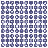 100 archeology icons hexagon purple Stock Image