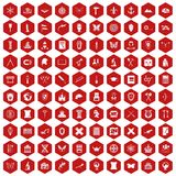 100 archeology icons hexagon red. 100 archeology icons set in red hexagon isolated vector illustration Vector Illustration