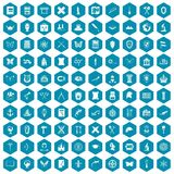 100 archeology icons sapphirine violet. 100 archeology icons set in sapphirine hexagon isolated vector illustration Stock Image