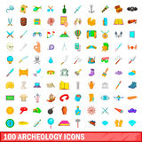 100 archeology icons set, cartoon style Royalty Free Stock Images