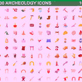 100 archeology icons set, cartoon style. 100 archeology icons set in cartoon style for any design vector illustration Royalty Free Stock Photography