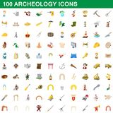 100 archeology icons set, cartoon style. 100 archeology icons set in cartoon style for any design illustration royalty free illustration