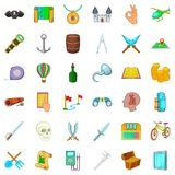 Archeology icons set, cartoon style Royalty Free Stock Photo